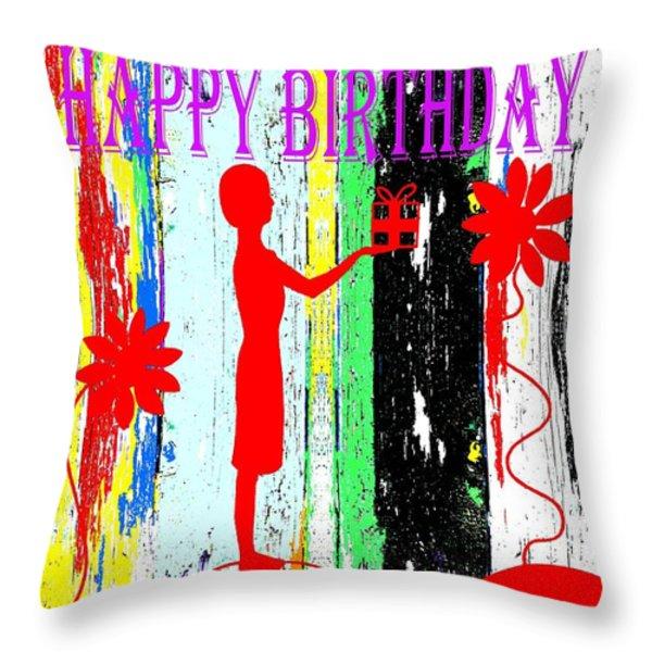 Happy Birthday 7 Throw Pillow by Patrick J Murphy
