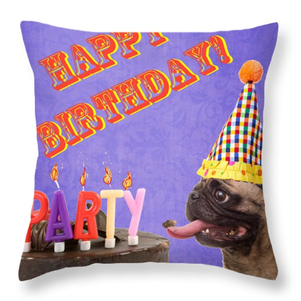 Happy Birthday Card Throw Pillow by Edward Fielding