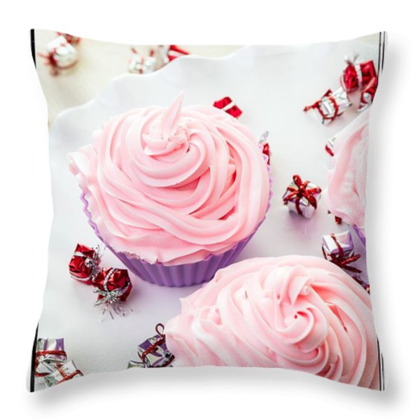 Happy Birthday Cupcakes Throw Pillow by Edward Fielding
