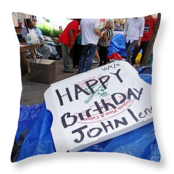 Happy Birthday John Lennon Throw Pillow by Ed Weidman