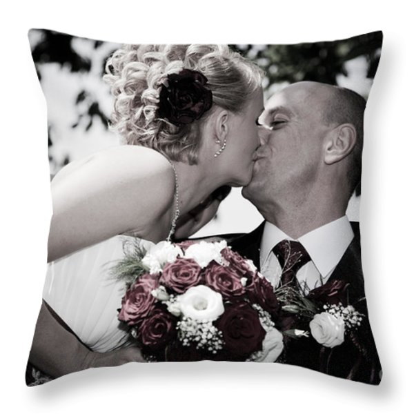 Happy Bride And Groom Kissing Throw Pillow by Michal Bednarek