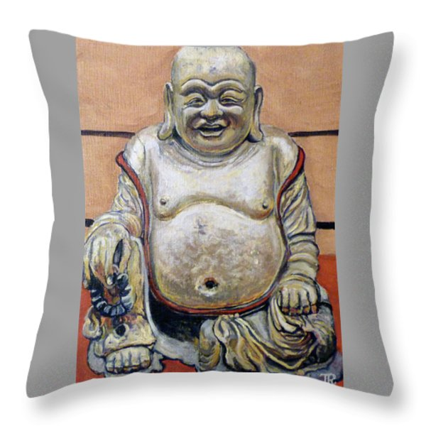 Happy Buddha  Throw Pillow by Tom Roderick