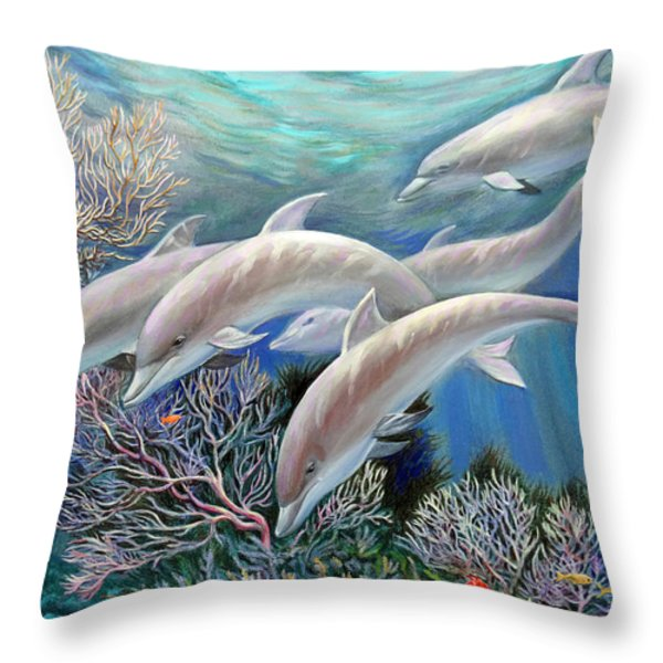 Happy Family. Dolphins Are Awesome Throw Pillow by Svitozar Nenyuk