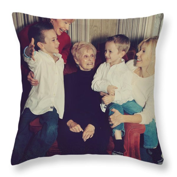 Happy Family Throw Pillow by Laurie Search