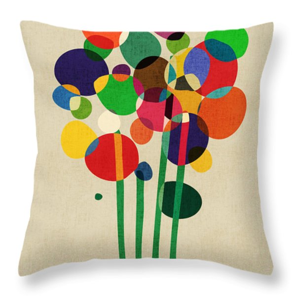 Happy Flowers in The Vase Throw Pillow by Budi Satria Kwan