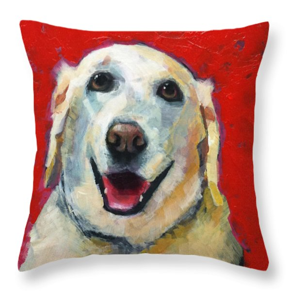 Happy Golden Throw Pillow by Mary Medrano