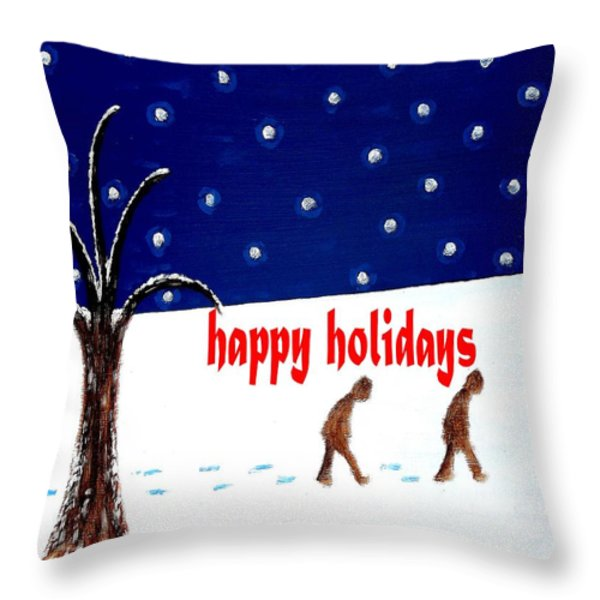 HAPPY HOLIDAYS 5 Throw Pillow by Patrick J Murphy