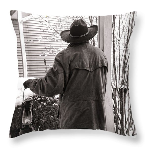 Happy Holidays Cowboy Throw Pillow by Olivier Le Queinec