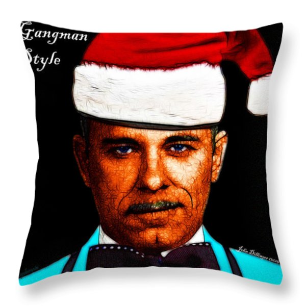 Happy Holidays Gangman Style - John Dillinger 13225 Throw Pillow by Wingsdomain Art and Photography