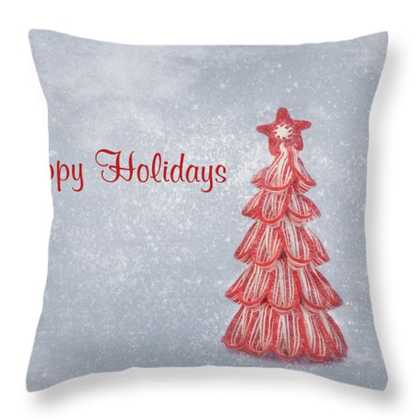 Happy Holidays Throw Pillow by Kim Hojnacki