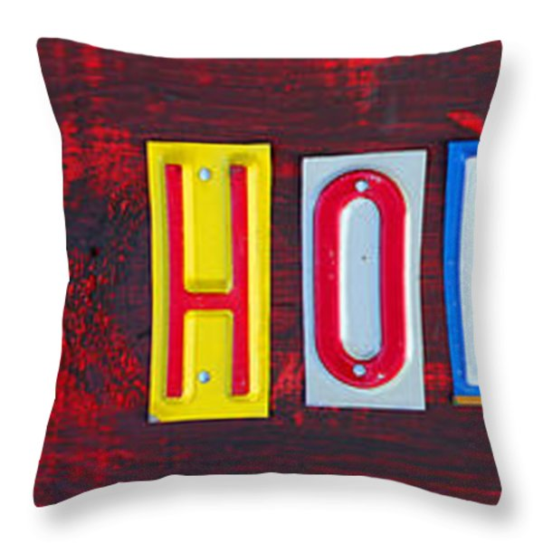 Happy Holidays License Plate Art Letter Sign Throw Pillow by Design Turnpike