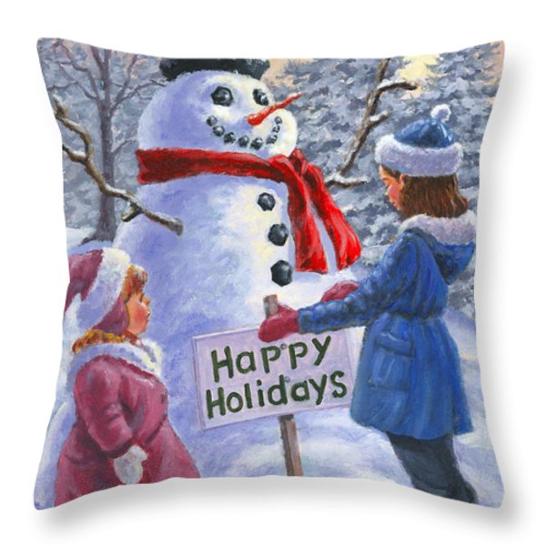 Happy Holidays Throw Pillow by Richard De Wolfe