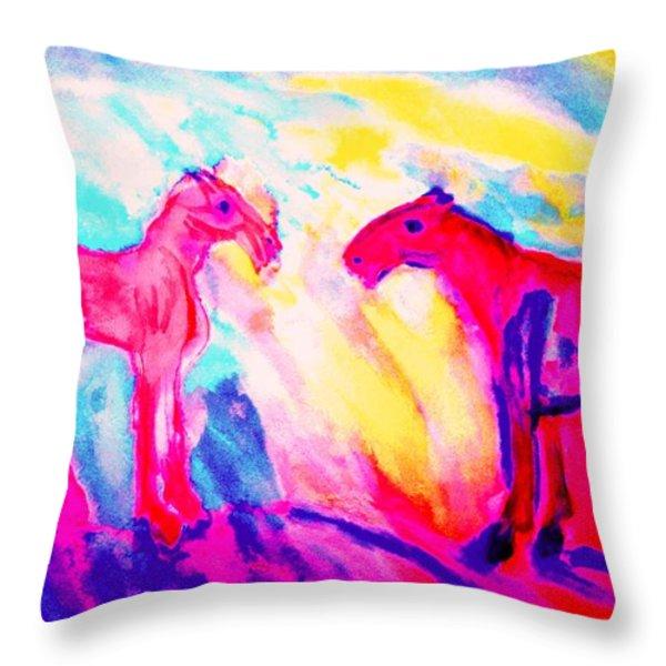 Happy Hulders Horses  Throw Pillow by Hilde Widerberg