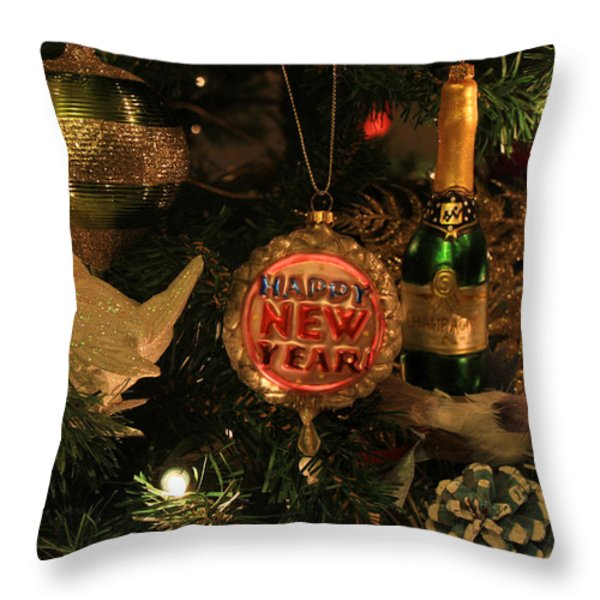Happy New Year  Throw Pillow by Donna Kennedy