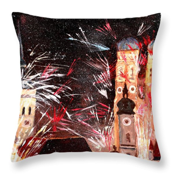 Happy New Year - With Fireworks In Munich Throw Pillow by M Bleichner