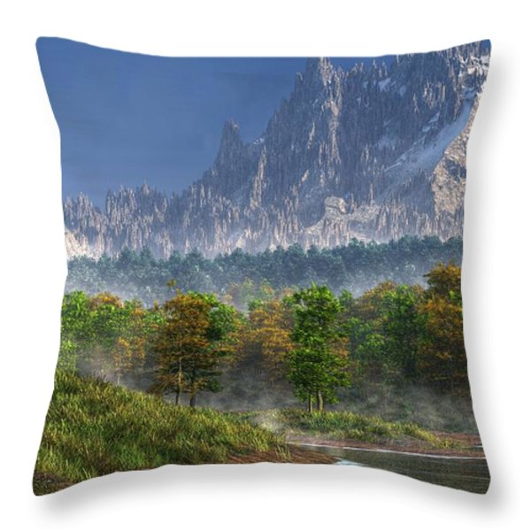 Happy River Valley Throw Pillow by Daniel Eskridge