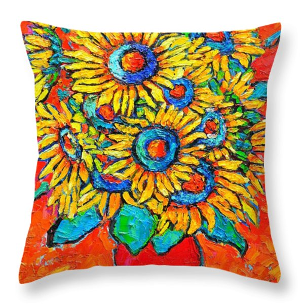 Happy Sunflowers Throw Pillow by Ana Maria Edulescu