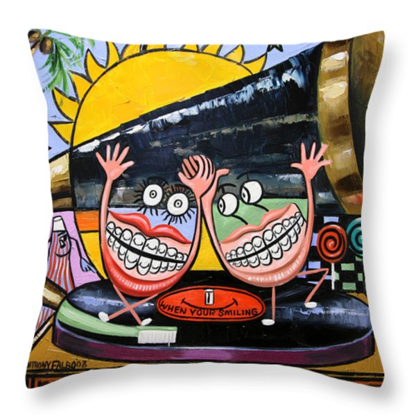 Happy Teeth When Your Smiling Throw Pillow by Anthony Falbo