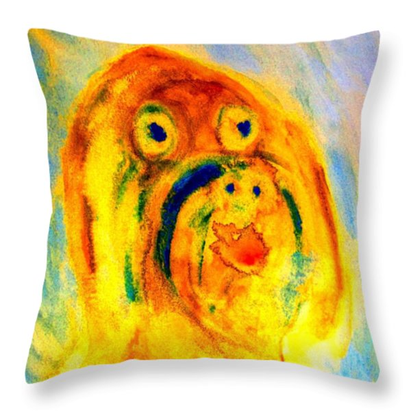 happy troll Throw Pillow by Hilde Widerberg