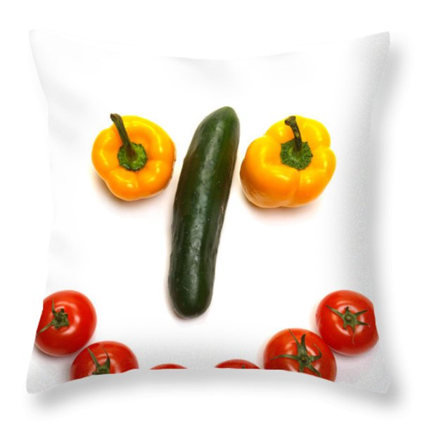 Happy Veggie Face Throw Pillow by Olivier Le Queinec
