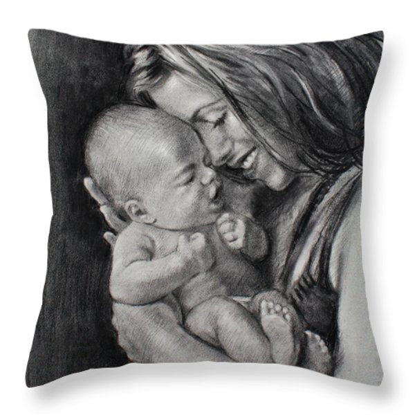 Happy Young Mother Throw Pillow by Ylli Haruni