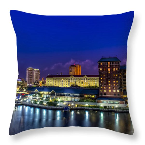 Harbor Island Nightlights Throw Pillow by Marvin Spates