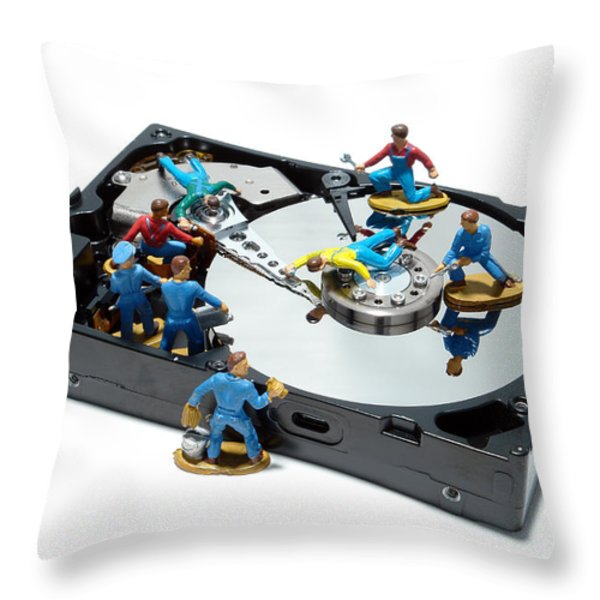 Hard Drive Maintenance Throw Pillow by Olivier Le Queinec
