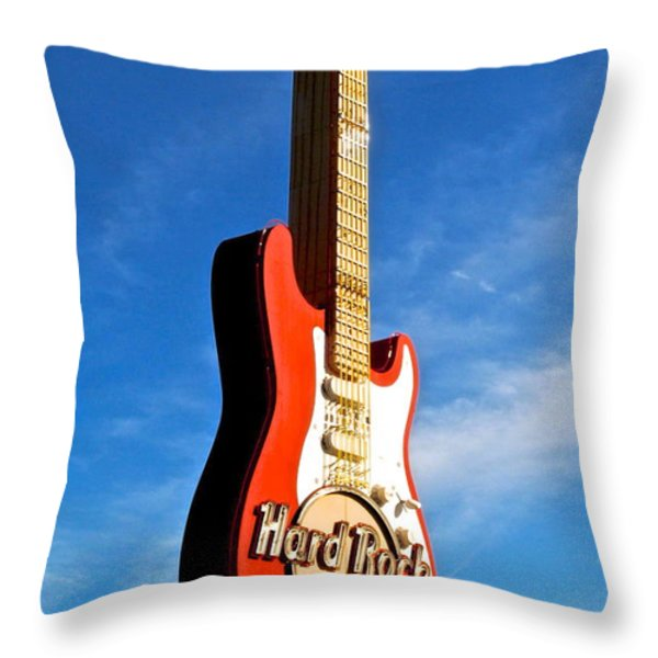 Hard Rock Cafe Cleveland Throw Pillow by Frozen in Time Fine Art Photography