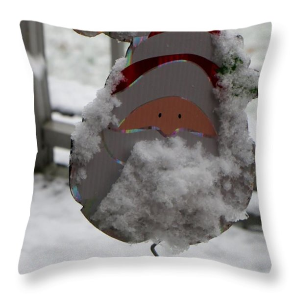Hardworking Santa Throw Pillow by Sonali Gangane