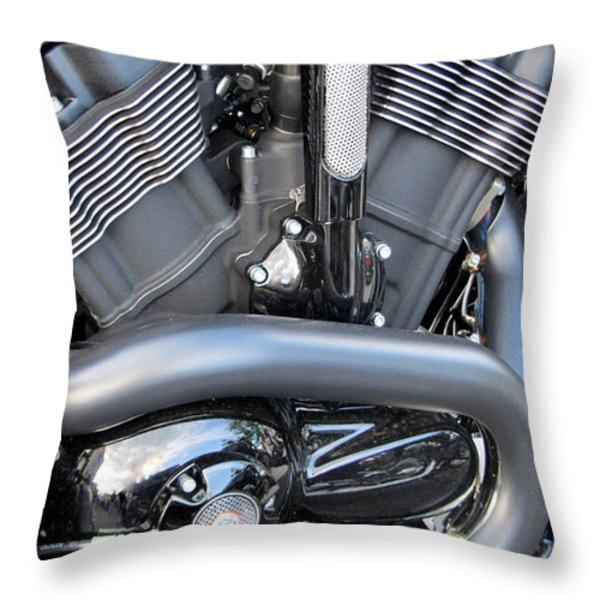 Harley Close-up Engine Close-Up 1 Throw Pillow by Anita Burgermeister