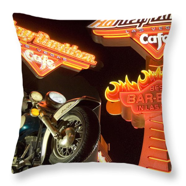 Harley Davidson Cafe Throw Pillow by Bob Christopher