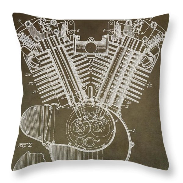 Harley Davidson Engine Throw Pillow by Dan Sproul