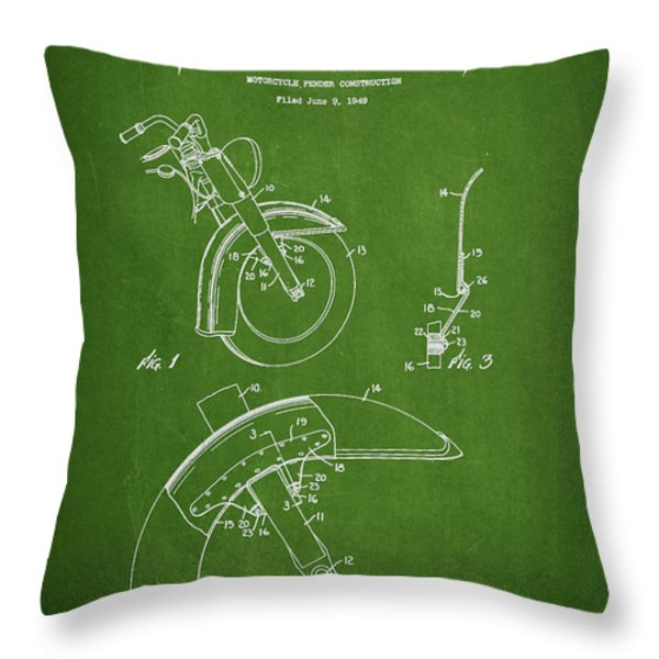 Harley Davidson Fender Construction Patent Drawing From 1949 - Green Throw Pillow by Aged Pixel