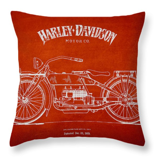 Harley Davidson Motorcycle Patent Drawing From 1919 Throw Pillow by Aged Pixel