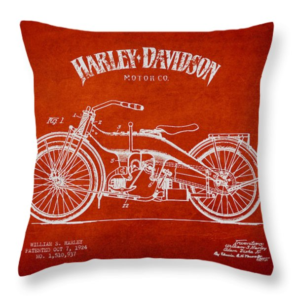 Harley Davidson Motorcycle Patent Drawing From 1924 Throw Pillow by Aged Pixel