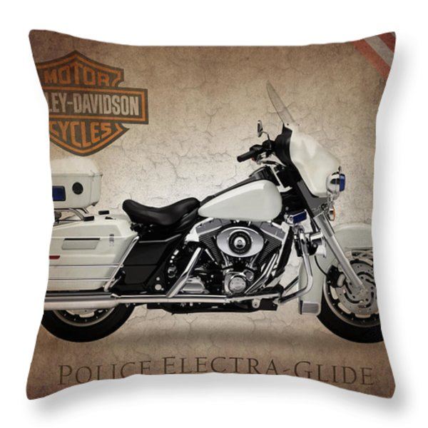Harley Davidson Police Electra Glide Throw Pillow by Mark Rogan