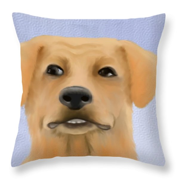 Harley The Labrador Dog Close Up Throw Pillow by Marlene Watson