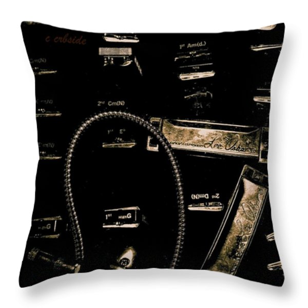 Harps In Brown Throw Pillow by Chris Berry