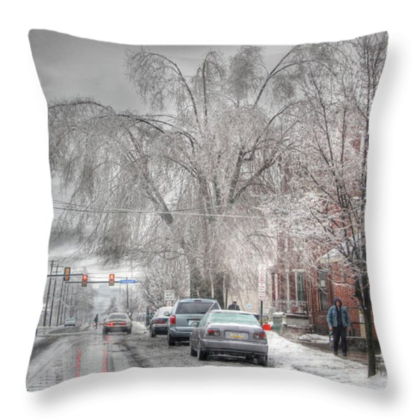 Harrisburg on Ice Throw Pillow by Lori Deiter