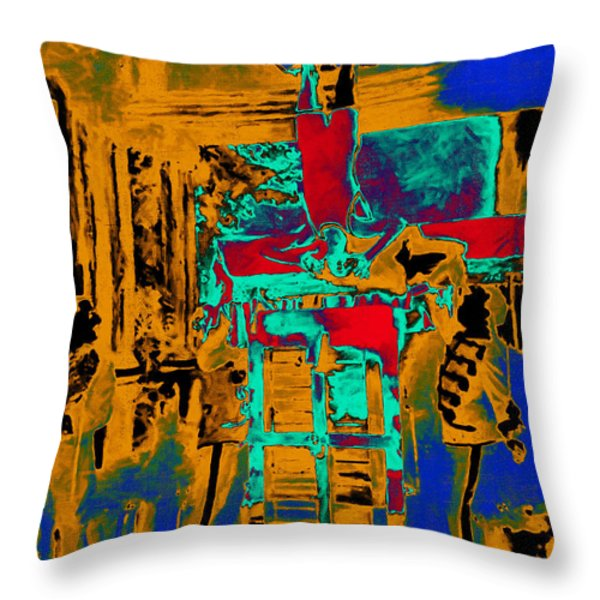 Harry Houdini And The Chinese Water Torture In Abstract Throw Pillow by Wingsdomain Art and Photography