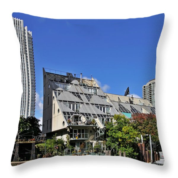 Harry Weese's Chicago River Cottages Throw Pillow by Christine Till