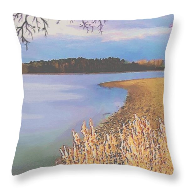 Harvest Lake Throw Pillow by SophiaArt Gallery