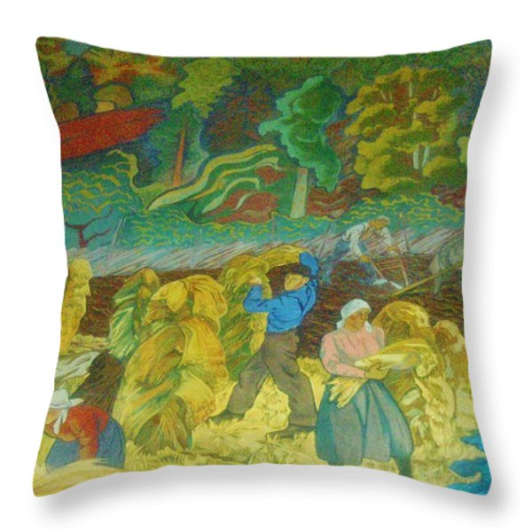 Harvest Time    Art Deco Throw Pillow by Gunter  Hortz