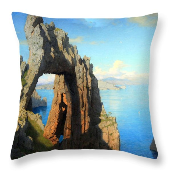 Haseltine's Natural Arch At Capri Throw Pillow by Cora Wandel