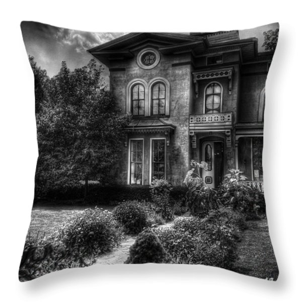 Haunted - Haunted House Throw Pillow by Mike Savad