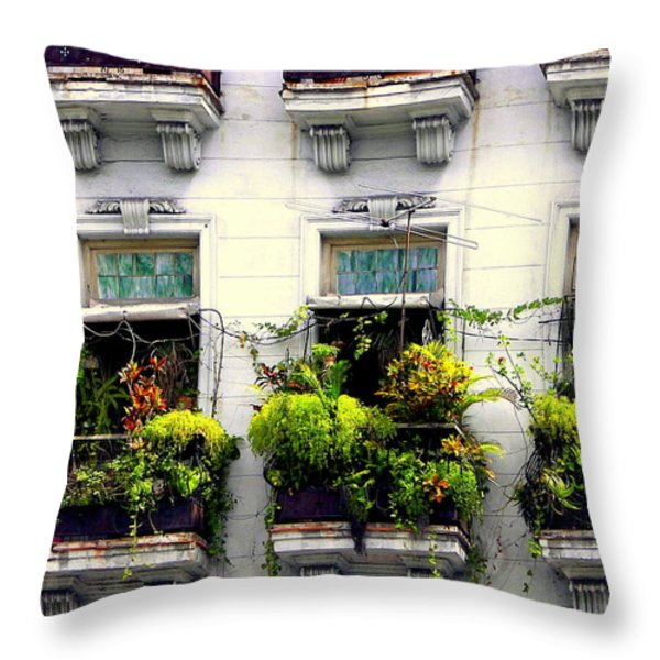 Havana Windows Throw Pillow by Karen Wiles
