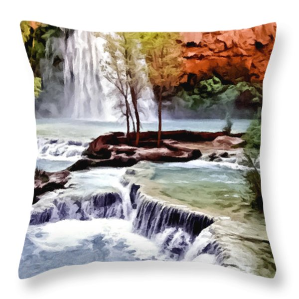 Havasau Falls Painting Throw Pillow by Bob and Nadine Johnston