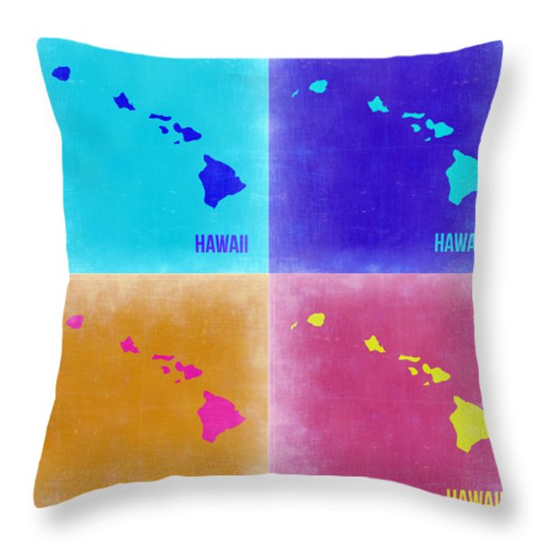 Hawaii Pop Art Map 2 Throw Pillow by Naxart Studio