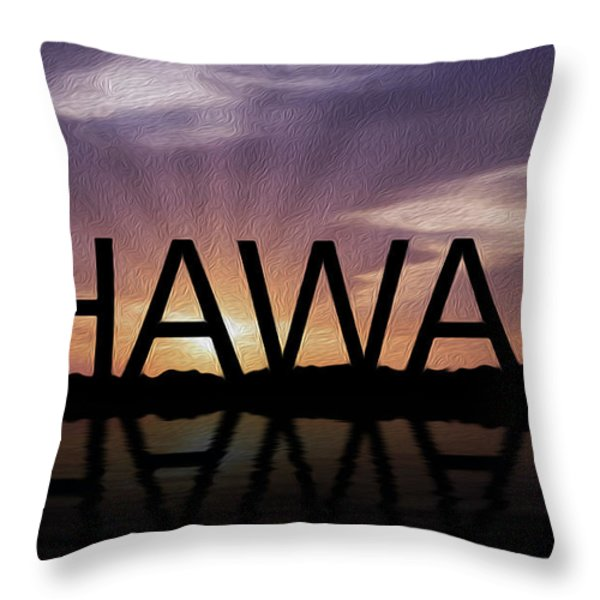 Hawaii Tropical Sunset Throw Pillow by Aged Pixel