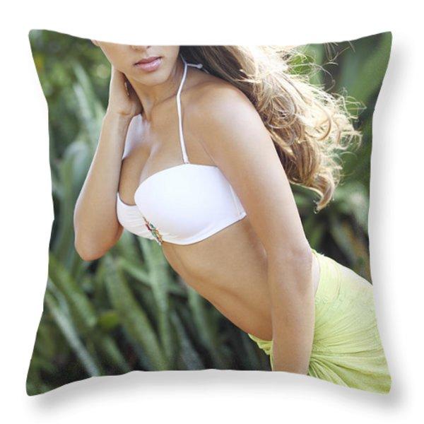 Hawaiian Girl Throw Pillow by Vince Cavataio